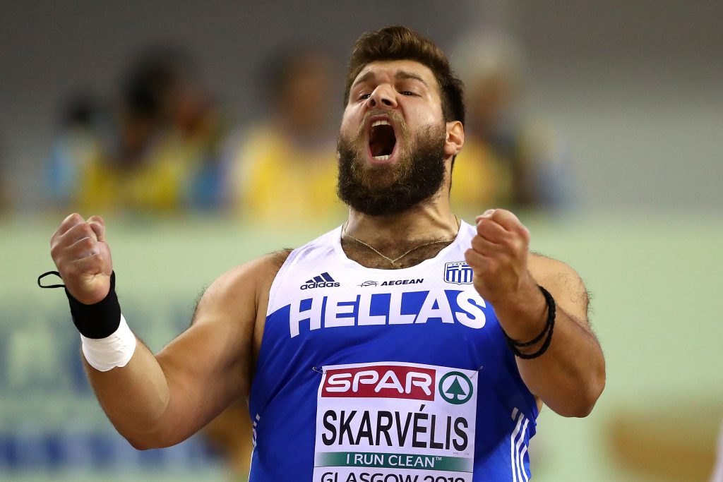 e3fc56fc501 ... Greece in action during the qualifying round of the men s shotput  during day one of the 2019 European Athletics Indoor Championships at  Emirates Arena ...
